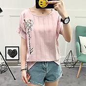 Mujer Bonito Casual/Diario Verano Camiseta,Escote Redondo Bordado Manga Corta Algodón Medio