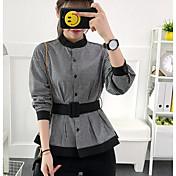 Mujer Simple Casual/Diario Camisa,Escote Chino Cuadrícula Manga Larga Algodón