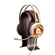 AJAZZ AX360Gold Cinta Con Cable Auriculares Dinámica Acero inoxidable De Videojuegos Auricular Dual Drivers Aislamiento de ruido Con