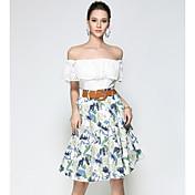 Mujer Noche Hasta la Rodilla Faldas,Línea A Otoño Floral Estampado