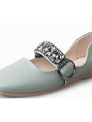 Feminino Sapatos Couro Ecológico Outono Conforto Rasos Rasteiro Ponta quadrada Pedrarias Para Casual Branco Preto Rosa claro Azul Claro