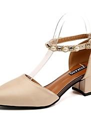 Feminino Sapatos Couro Ecológico Verão Conforto Saltos Salto Grosso Ponta Redonda Pérolas Para Casual Preto Bege Marron
