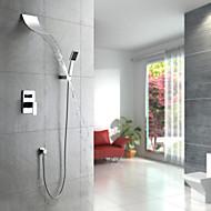 Moderne Système de douche Jet pluie Douchette inclue with  Soupape céramique 5 trous Mitigeur cinq trous for  Chrome , Robinet de douche