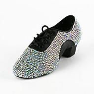 Couro / strass superior Latina / Salsa Dance Shoes Para Homens / Crianças
