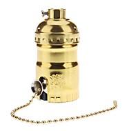 E26 מחזיק נר שקע נורת זהב צבע בסיס עם מתג
