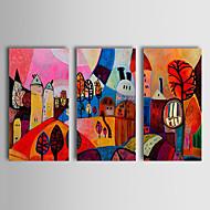 Pintados à mão Abstrato Paisagem Paisagens Abstratas Horizontal,Clássico Tradicional 3 Painéis Pintura a Óleo For Decoração para casa