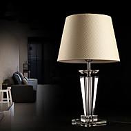 現代簡潔K9クリスタルテーブルランプ亜麻シェード