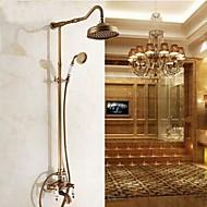 Antique Système de douche Douche pluie Douchette inclue with  Soupape céramique 3 trous Deux poignées trois trous for  Laiton Antique ,