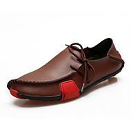 Masculino sapatos Couro Primavera Verão Outono Conforto Mocassins e Slip-Ons Cadarço Para Casual Cinzento Preto e Branco Marrom