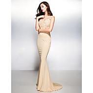 Sereia Decote V Cauda Escova Renda Microfibra Jersey Evento Formal Vestido com Renda de TS Couture®