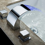 Bathroom Sink Faucets Contemporary LED / Waterfall Brass Chrome Faucet Mixer