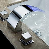 Moderne Vægmonteret Vandfald with  Messing Ventil To Håndtag tre huller for  Krom , Håndvasken vandhane