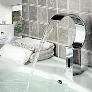 Moderne Vandret Montering Vandfald / Sensor with  Magnetventil Håndfri Et Hul for  Krom , Håndvasken vandhane