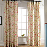 Two Panel Linen Bright-coloured Floral Leaf Printing Curtains Drapes