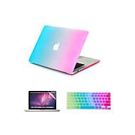 """3 em 1 do arco-íris colorido capa emborrachada duro caso tampa do teclado + + protetor de tela para o MacBook Air 11 """"/ 13"""""""