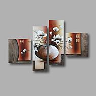 Ručno oslikana Sažetak / Cvjetni / BotaničkiModerna Četiri plohe Platno Hang oslikana uljanim bojama For Početna Dekoracija