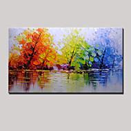 Kézzel festett Absztrakt Landscape Vízszintes Panorámás,Modern Egy elem Vászon Hang festett olajfestmény For lakberendezési
