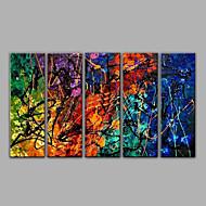 Hånd-malede Abstrakt Horisontal,Middelhavet Fem Paneler Kanvas Hang-Painted Oliemaleri For Hjem Dekoration