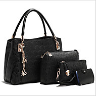 Women Bags All Seasons PU Tote Bag Set with for Casual Outdoor Gold White Black Blue