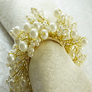 Pearl Flower Decoration Napkin Ring, Acrylic, 1.77Inch, Set of 12