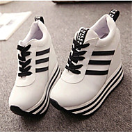 Feminino Sapatos Lona Primavera Outono Anabela Cadarço Para Casual Branco Preto Vermelho