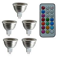 5 pcs mr16 3w 1x3w led dimmable / 21keys télécommandé / projecteurs décoratifs rgb ac / dc 12v