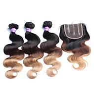 Hår Veft Med Lukker Malaysisk hår Krop Bølge 12 måneder 4 deler hår vever