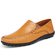 Masculino sapatos Pele Primavera Verão Outono Conforto Solados com Luzes Mocassins e Slip-Ons Caminhada Combinação Para Casual Preto