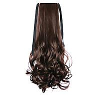 longs bouclés style perruque de cheveux ponytails queue de poney de bandage d'onde de l'eau brune