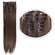 halpa hiukset extentions leikkeen synteettisten hiusten # 8 tummanruskeat 22inch 100g 7pcs / set synteettiset hiuslisäkkeet