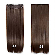 "Clip in Synthetic Hair 24"" 60cm 120g #4 Long Straight  Clip in hair extensions pieces 5 clips high temperature fiber"