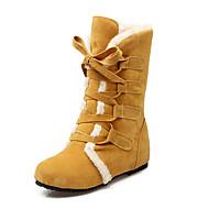 Feminino-Botas-Botas de Neve Botas da Moda-Anabela-Preto Amarelo Bege-Courino-Ar-Livre Casual