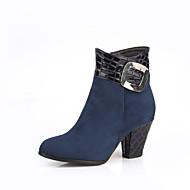 Bootsit-Leveä korko-Naisten-Tekonahka-Musta Sininen Burgundy-Ulkoilu Toimisto Rento-Saappaat