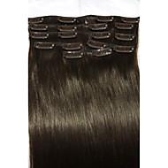 """인간의 머리카락 확장 8PCS / 80g 18 """"# 2 어두운 갈색 클립"""