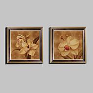 Floral/Botânico Quadros Emoldurados / Conjunto Emoldurado Wall Art,PVC Marrom Sem Cartolina de Passepartout com frame Wall Art