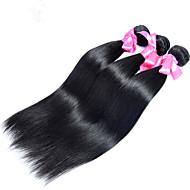 Ljudska kosa Indijska kosa Ljudske kose plete Ravna Ekstenzije za kosu 3 komada Prirodna boja