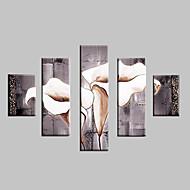 Ручная роспись Пейзаж Цветочные мотивы/ботанический Любая форма,Классика Modern 5 панелей Hang-роспись маслом For Украшение дома