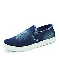 Unissex Sapatos Lona Outono Conforto Mocassins e Slip-Ons Rasteiro Para Casual Preto Azul Escuro Azul