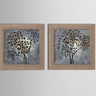 Pintados à mão Abstracto / Paisagem / Fantasia / Floral/Botânico Pinturas a óleo,Estilo Europeu / Modern / Realismo 2 Painéis Tela