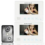 telefone de porta de vídeo a cores TFT touch screen lcd vídeo porteiro com fio sistema de campainha intercom 2 monitor de 7 polegadas