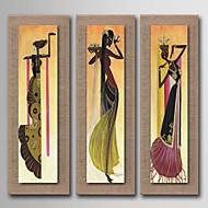 Pintados à mão Abstracto / Pessoas / Vida Imóvel / Fantasia / Floral/Botânico Pinturas a óleo,Modern / Realismo / Estilo Europeu 3 Painéis