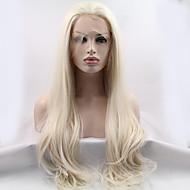 Naisten Synteettiset peruukit Lace Front Pitkä Suora Vaaleahiuksisuus Luonnollinen hiusviiva Luonnollinen peruukki puku Peruukit