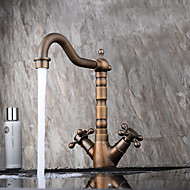 Moderni / Antiikki Integroitu Widespary with  Keraaminen venttiili Kaksi kahvaa yksi reikä for  Antiikkikupari , Kylpyhuone Sink hana