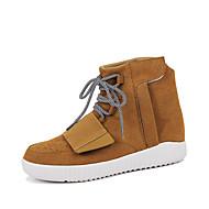 Herre-Semsket lær-Flat hæl-Komfort-Støvler-Friluft Fritid-Svart Blå Brun Rød Grå Svart og Hvit