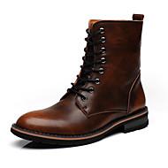 Heren Schoenen Leer Lente Herfst Winter Modieuze laarzen Laarzen Veters Voor Causaal Grijs Donker Bruin Bordeaux