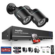 sannce® 1.0Mp 720p HD 4ch 4 in1 TVI h.264 Видеорегистратор в / на открытом воздухе 2 шт камеры видеонаблюдения встроенный 1tb НЖМД