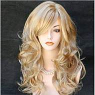 Cheap Women Synthetic Wig Long Body Wave Curly Fluffy Full Side Bang Brown Heat Resistant Cosplay Wigs Hair