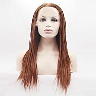 Naisten Synteettiset peruukit Lace Front Pitkä Hyvin pitkä Suora Yaki Golden Blonde Luonnollinen hiusviiva Letitetty peruukki