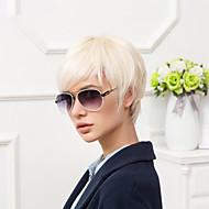Mulher Perucas de cabelo capless do cabelo humano Preto jet Branco Bege Loiro // Bleach Loiro Curto Liso Corte Pixie Com Franjas Parte