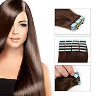 8 nauha hiusten pidennykset 20kpl / paljon teippiä ihon Remy hiuksista kude silkkisen suorat Brasilian hiukset 100% hiuksista kude